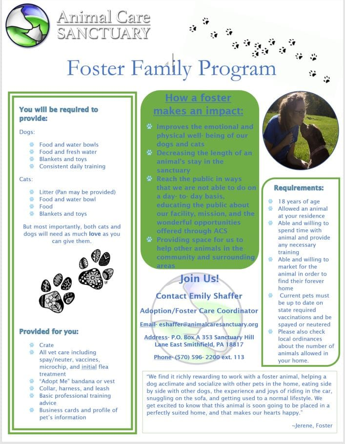 foster family program animal care sanctuary