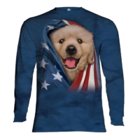 Amercian Flag Puppy Long sleeve shirt