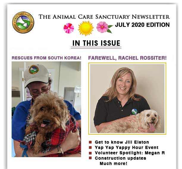 Animal Care Sanctuary's News letter