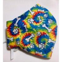 Tie Dye design Bone and Paw Mask available at Animal Care Sanctuary in East Smithfield, PA