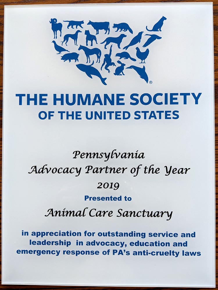Plaque from the Humane Society