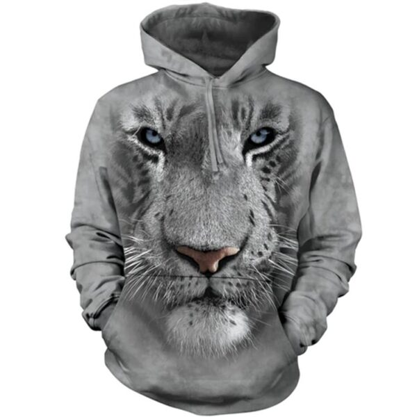 White Tiger Face Hoodie at Animal Care Sanctuary in East Smithfield, PA