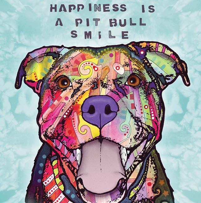 Happiness is a Pit Bull Smile - Dean Russo Design