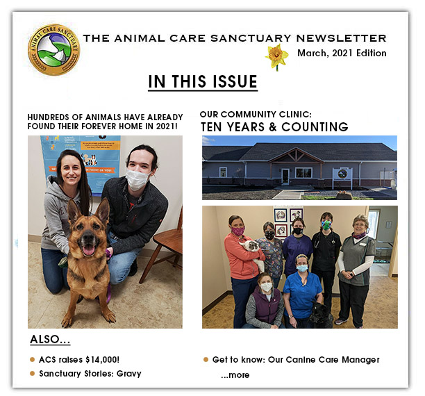 Animal Care Sanctuary's Newsletter